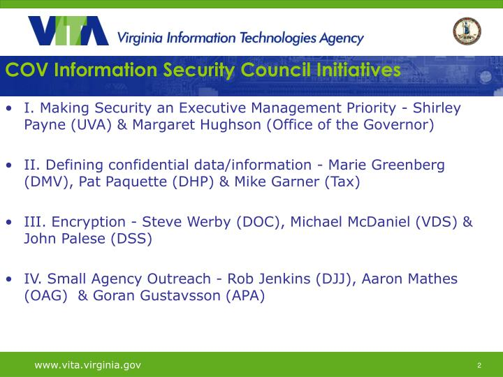 Cov information security council initiatives