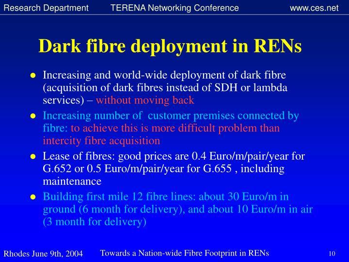 Dark fibre deployment in RENs