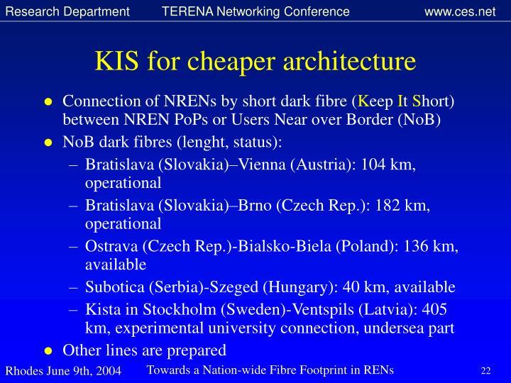KIS for cheaper architecture