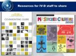 resources for iv d staff to share