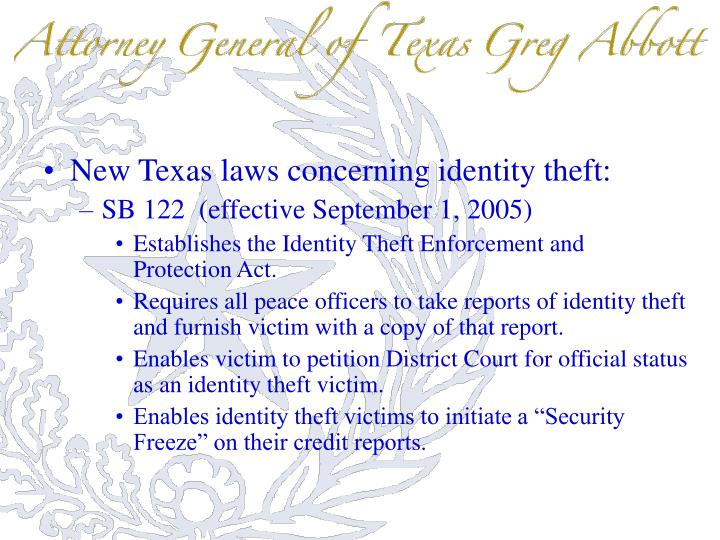 New Texas laws concerning identity theft: