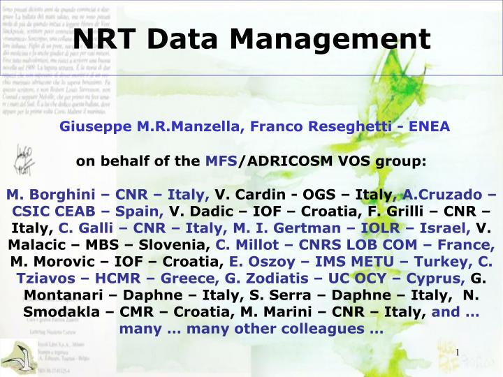 Nrt data management