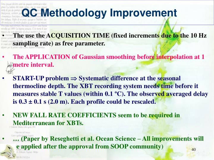 QC Methodology Improvement