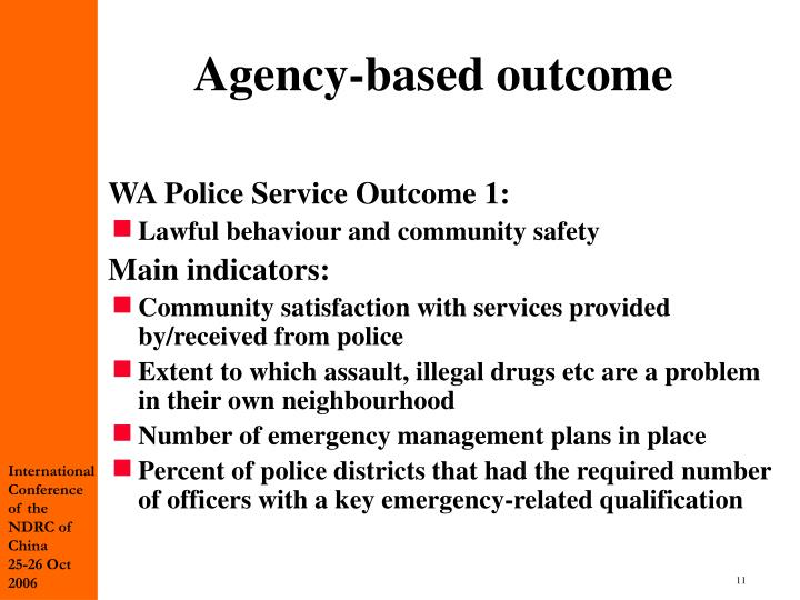 Agency-based outcome