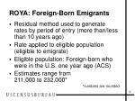 roya foreign born emigrants