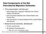 sub components of the net international migration estimates