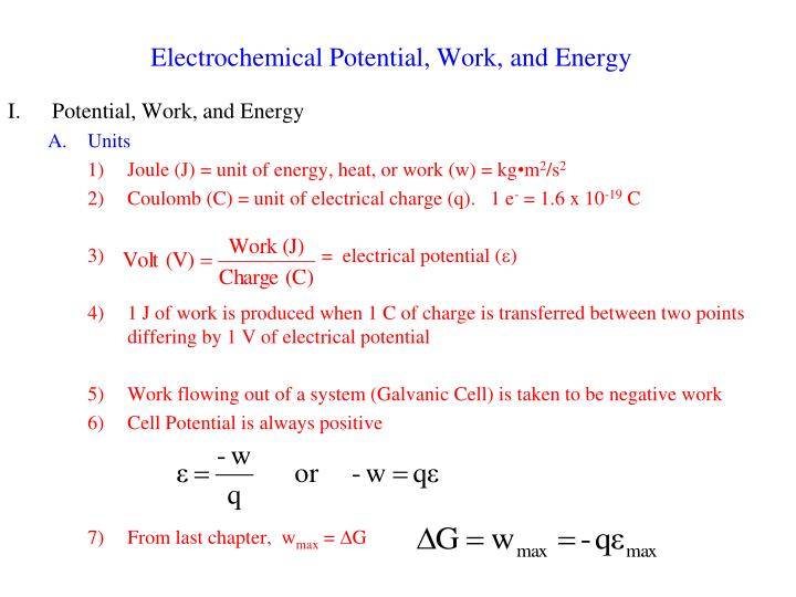 Electrochemical potential work and energy