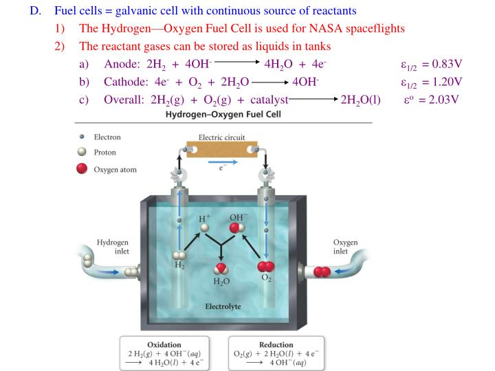 Fuel cells = galvanic cell with continuous source of reactants