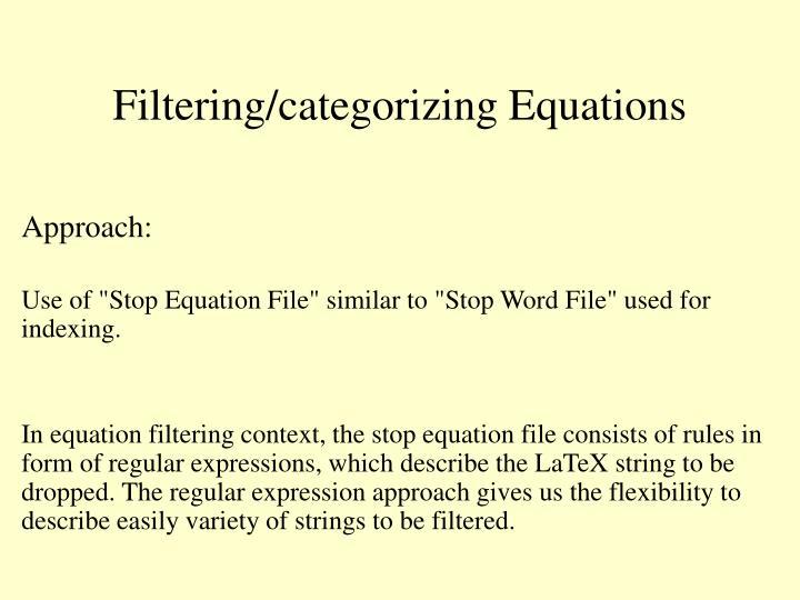 Filtering/categorizing Equations