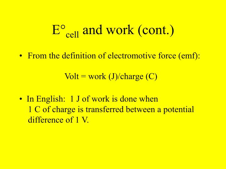 E cell and work cont