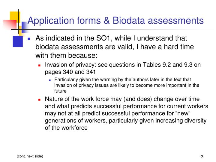 Application forms biodata assessments