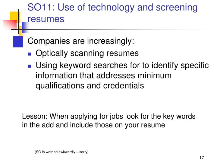 SO11: Use of technology and screening resumes