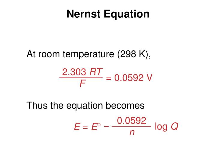 Nernst Equation At Room Temperature
