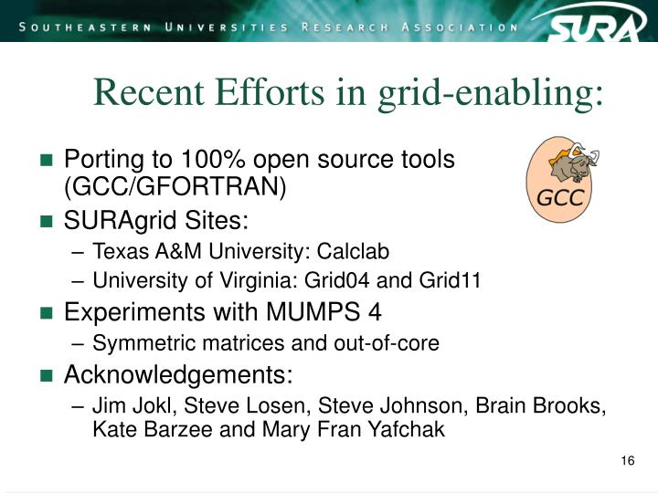Recent Efforts in grid-enabling: