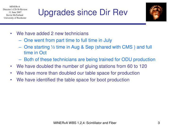 Upgrades since dir rev