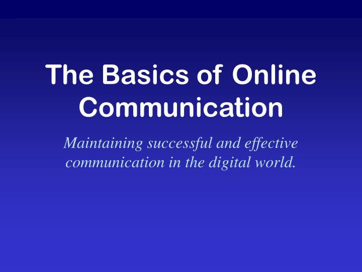the basics of online communication n.