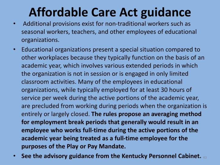 Affordable Care Act guidance