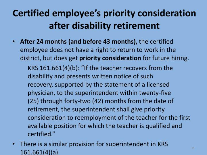 Certified employee's priority consideration after disability retirement
