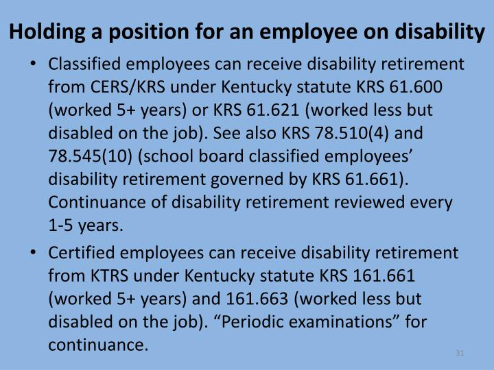 Holding a position for an employee on disability