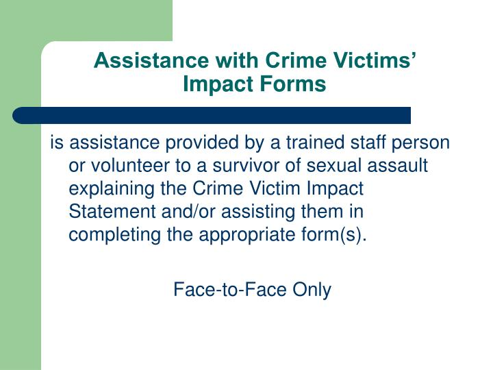 Assistance with Crime Victims'