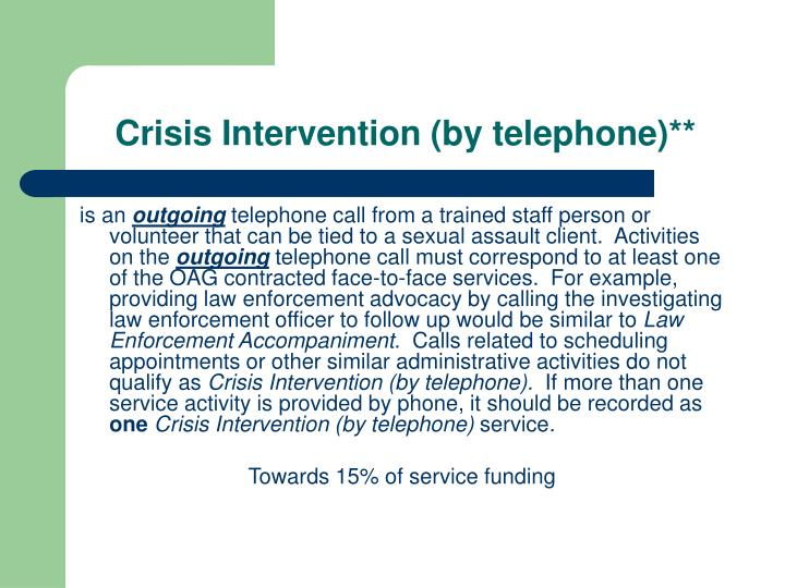 Crisis Intervention (by telephone)**