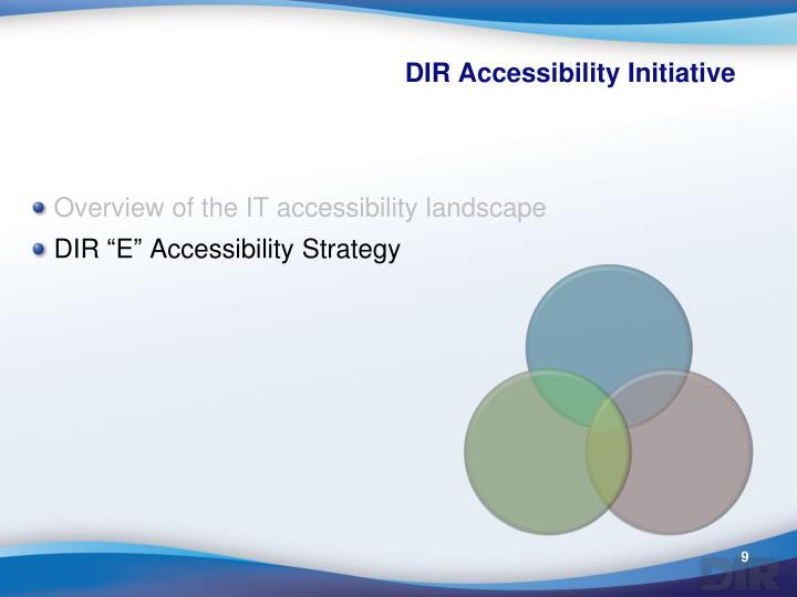 DIR Accessibility Initiative