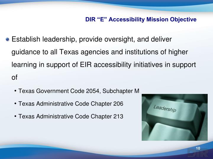 """DIR """"E"""" Accessibility Mission Objective"""