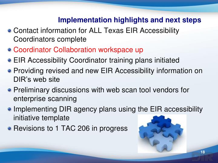 Implementation highlights and next steps