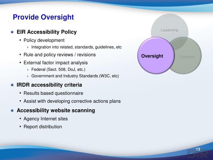Provide Oversight