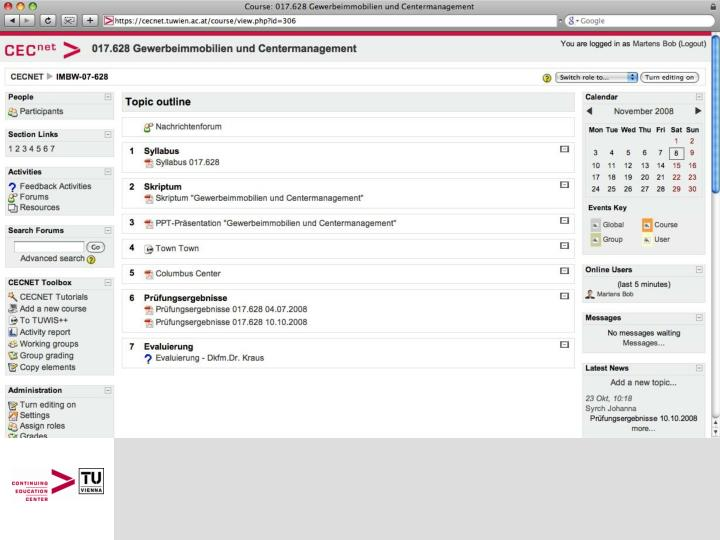 Screenshot of a topic outline within a course