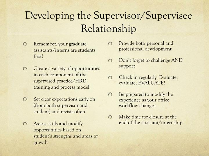 Developing the Supervisor/Supervisee Relationship