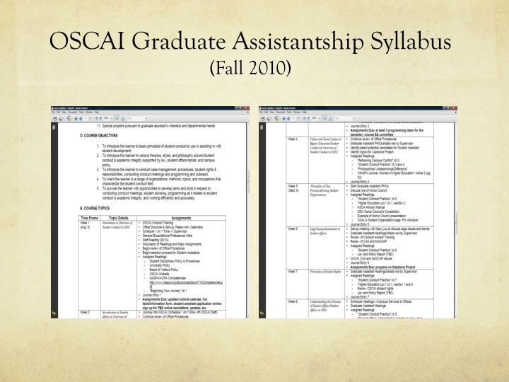 OSCAI Graduate Assistantship Syllabus