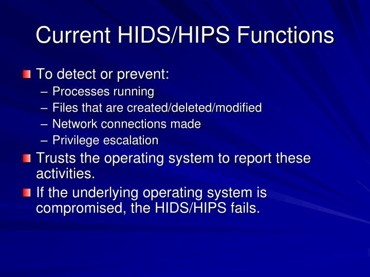 Current HIDS/HIPS Functions