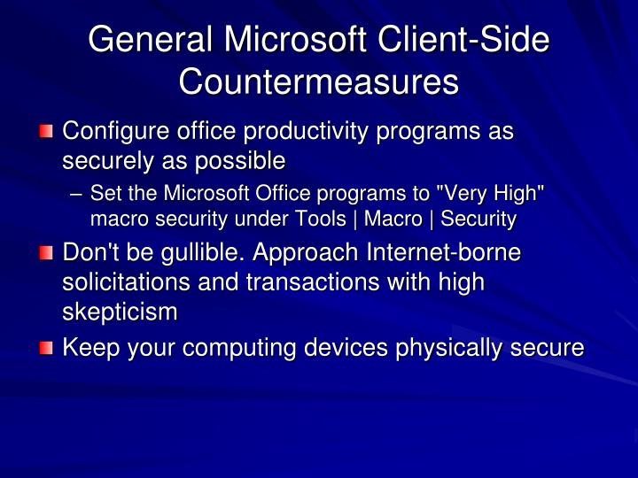 General Microsoft Client-Side Countermeasures