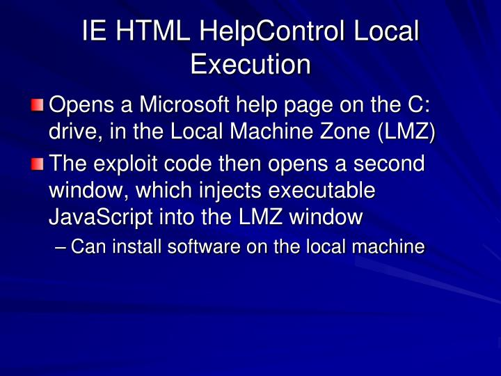 IE HTML HelpControl Local Execution