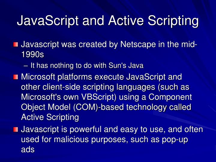 JavaScript and Active Scripting