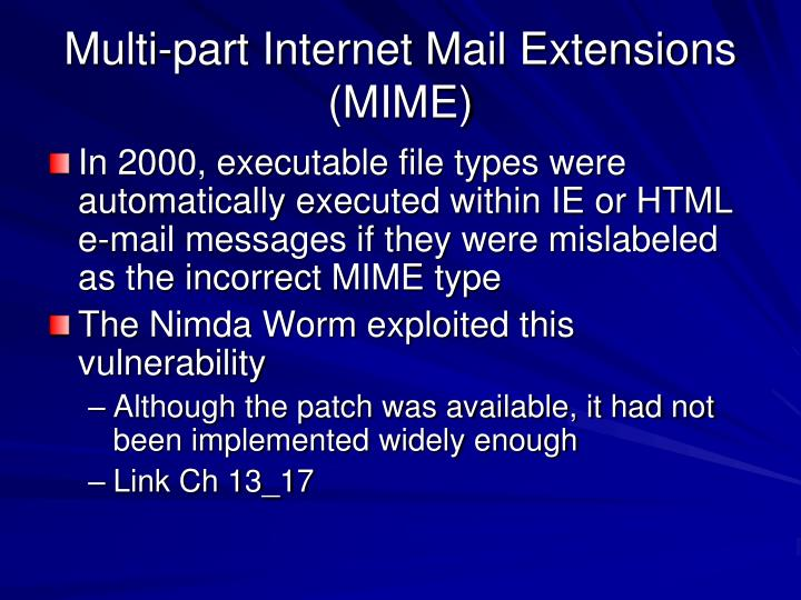 Multi-part Internet Mail Extensions (MIME)