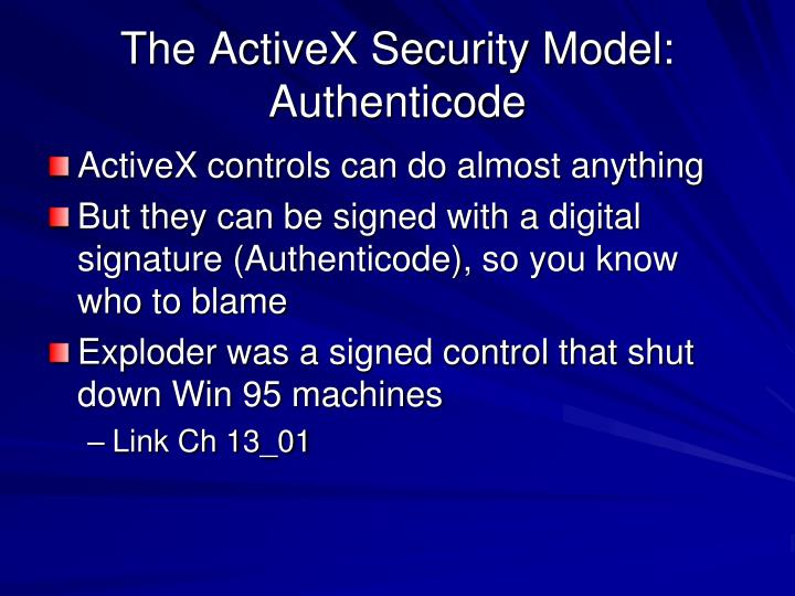 The ActiveX Security Model: Authenticode