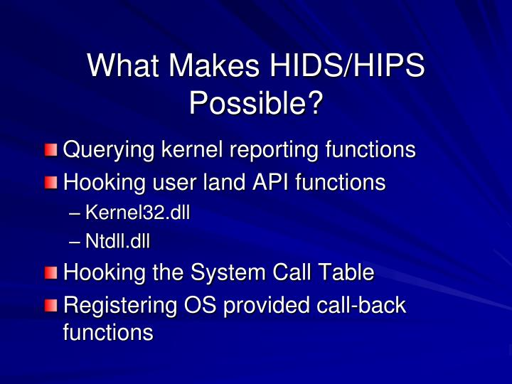 What Makes HIDS/HIPS Possible?
