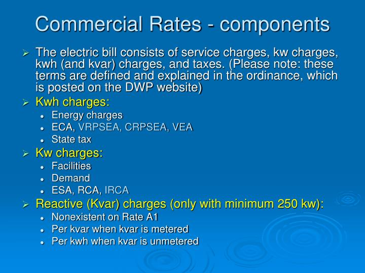Commercial Rates - components