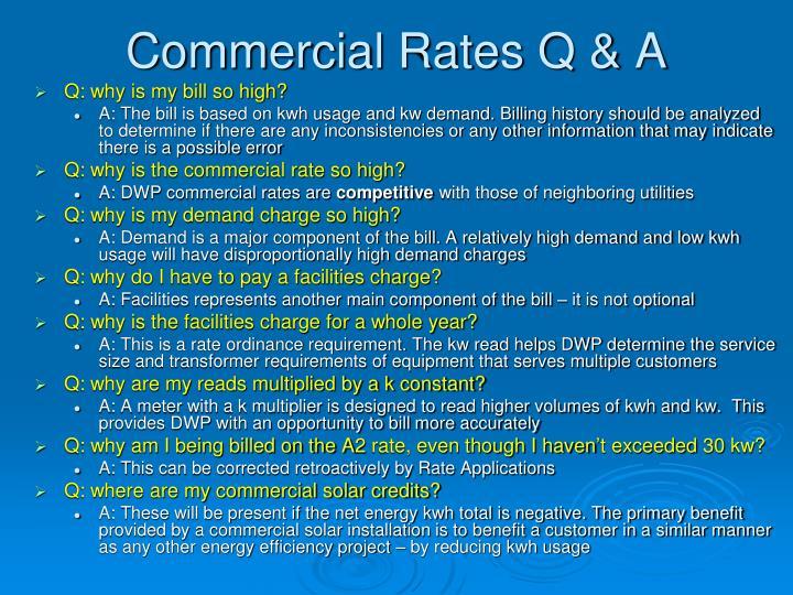 Commercial Rates Q & A