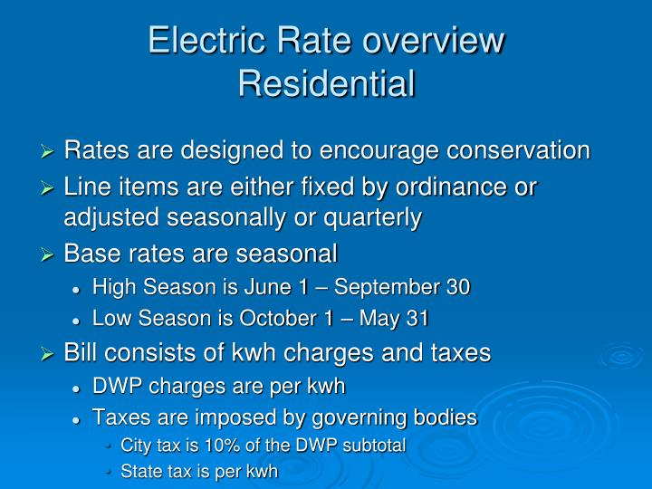 Electric Rate overview