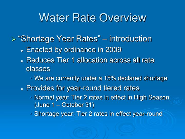 Water Rate Overview