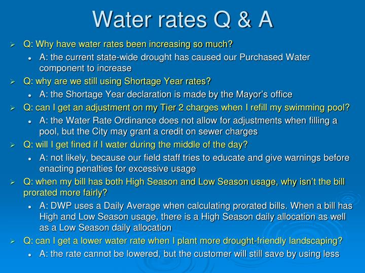 Water rates Q & A