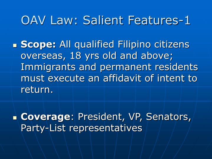 Oav law salient features 1
