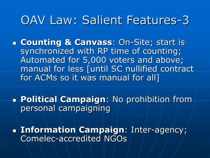 OAV Law: Salient Features-3