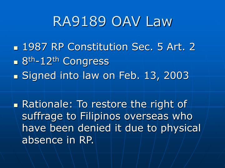 Ra9189 oav law