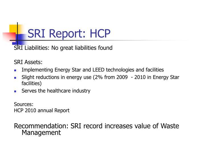 Sri report hcp