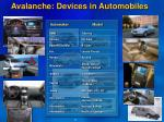 avalanche devices in automobiles