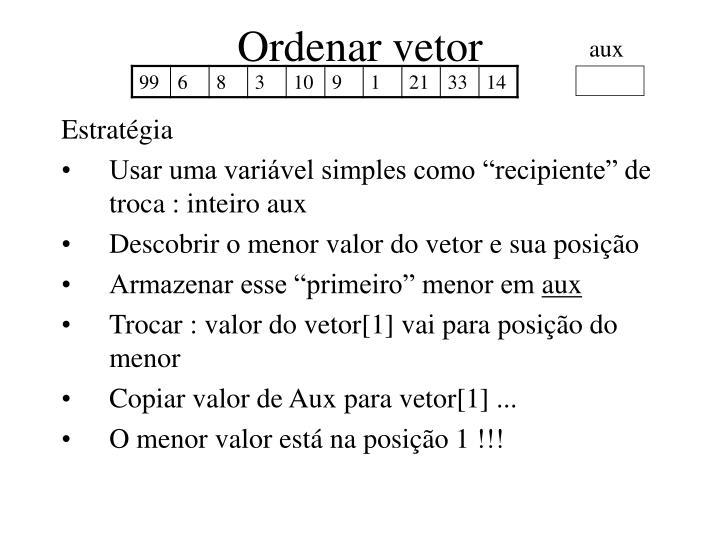 Ordenar vetor
